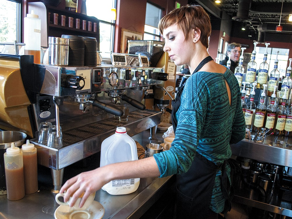 Judah Meek preparing coffee at Service Station. - SARAH WURTZ
