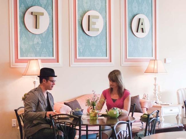 Kalan Piukkula and Joshua Swerin enjoying tea at Taste and See Tea - LORETTA SURMA