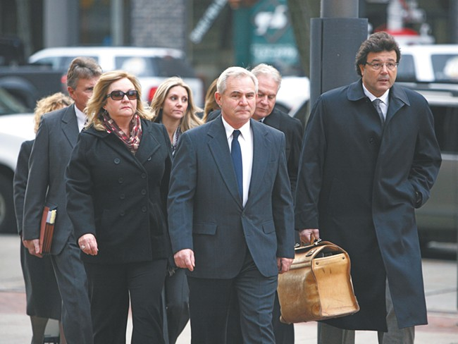 Karl Thompson and his lawyers head to his sentencing hearing last Thursday. - YOUNG KWAK