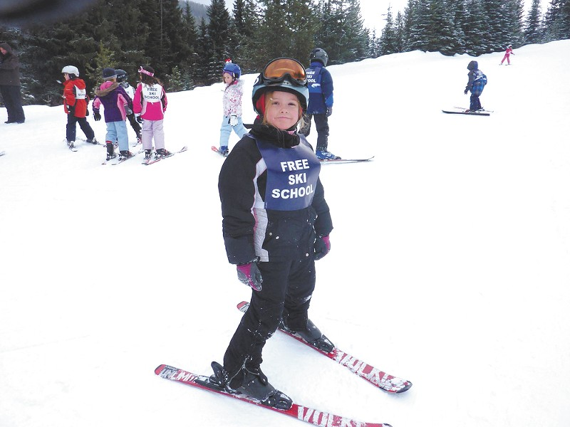 Kids at the Lookout Pass Free Ski School