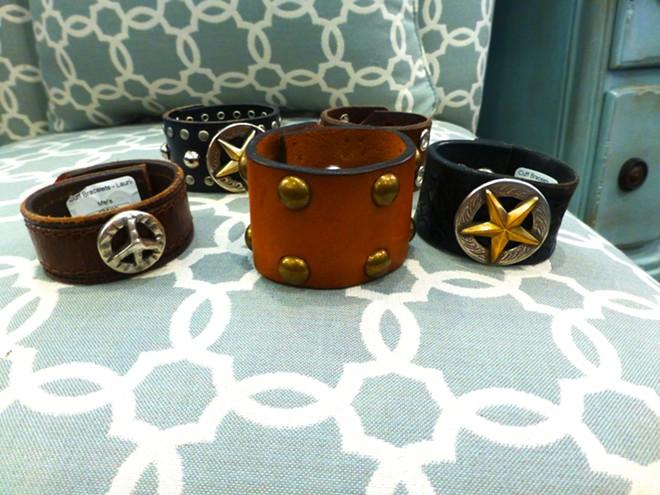 Leather cuffs by Laurie Hamblen: $34.99. - MADISON BENNETT