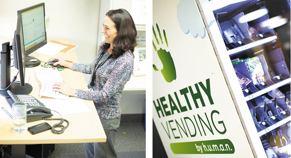 (left) Convinced by research on the deleterious effects of sitting, SRHD Healthy Community Specialist Nancy Tauzin now uses a standing desk. (right) Office vending machines can be a source of poor nutrition choices. Or they can contain healthier snacks, like this one at the SRHD.