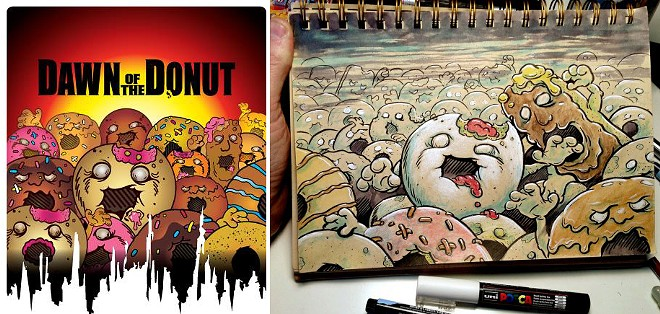 LEFT: Dawn of the Donut's logo on Facebook. RIGHT: John Sumrow's sketch from last year.