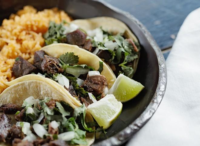 Lengua tacos from Tacos Tumbras
