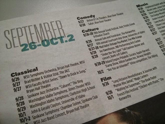 Last year's Fall Arts calendar.