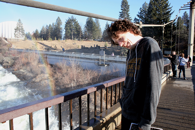 Local poet Mark Anderson enjoying a little mist and madness at the falls. - TAYLOR WEECH