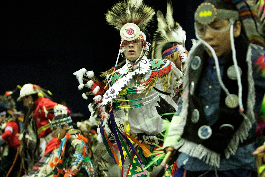 Logan Quaempts, center, of the Cayuse Tribe of the Confederated Tribes of the Umatilla Indian Reservation, dances. - YOUNG KWAK
