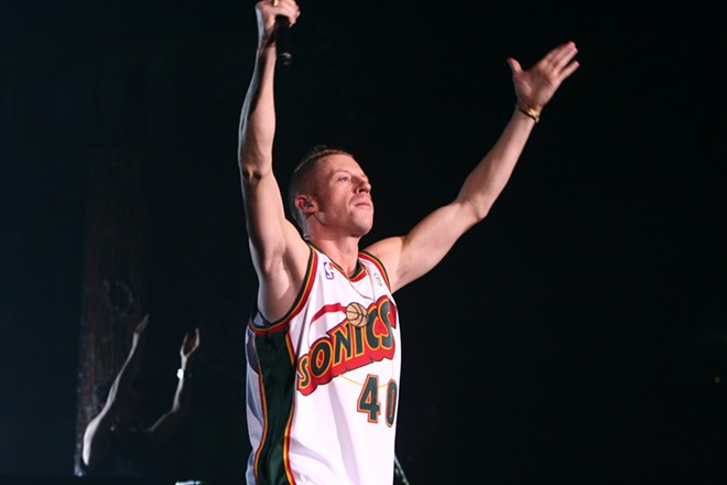 Macklemore in all his Shawn Kemp glory - CHRIS BOVEY