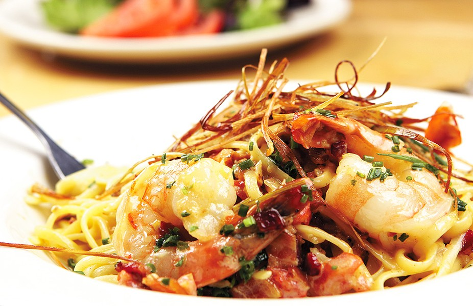 Maggie's South Hill Grill's Shrimp Carbonara. - YOUNG KWAK