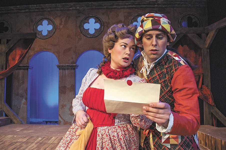 Mallory Ware as Smeraldina and Preston Loomer as Truffaldino in the Civic's Servant of Two Masters. - SARAH WURTZ