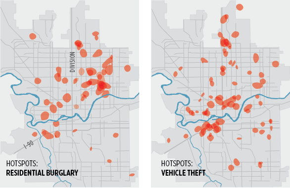 """MAPPING CRIME: The Crime Analysis Unit creates """"hotspot"""" maps each week to help set priorities for staffing and patrols in problem areas. These maps show all the hotspots identified in the weekly reports during April and May. Along with location, the unit also looks at factors like time of day. - LISA WAANANEN"""