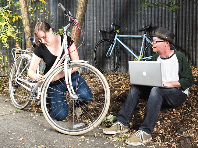 Mara Fields and David van Wert invented a new way to jazz up your bike. - STEPHEN SCHALNGE