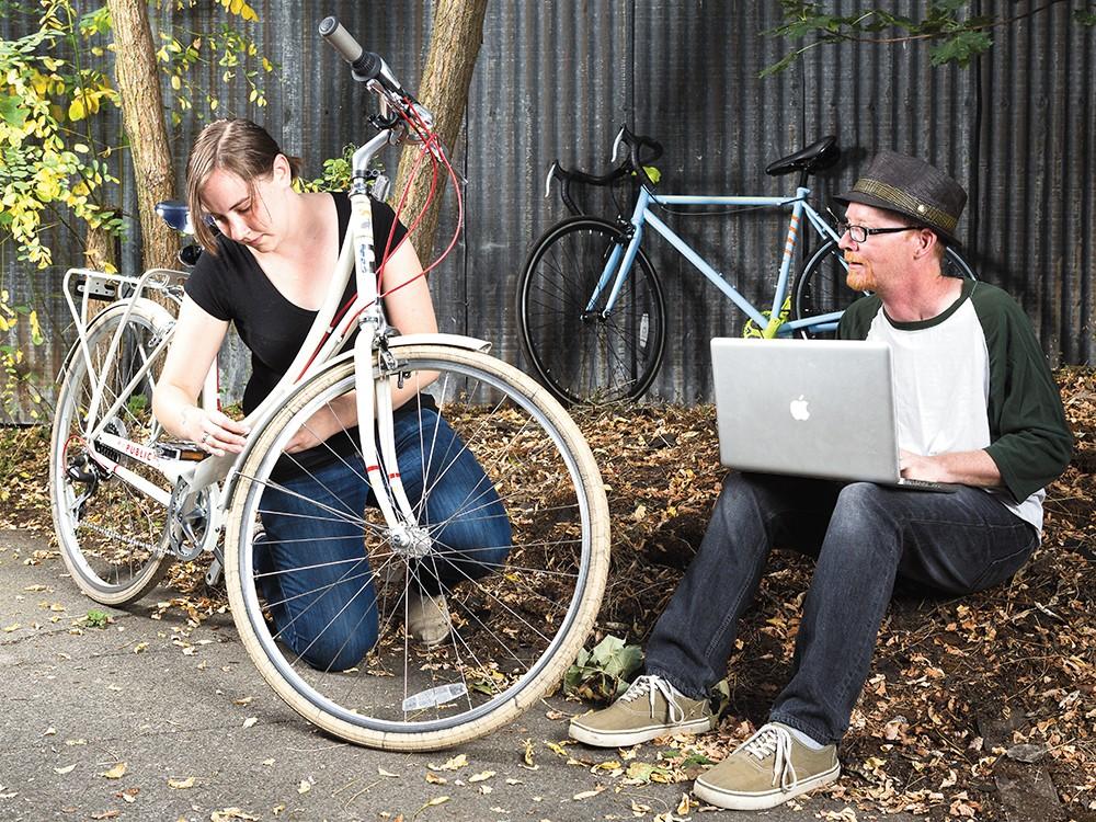 Mara Fields and David van Wert invented a new way to jazz up your bike. - STEPHEN SCHALNGE