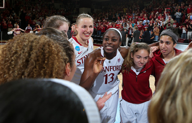 Stanford celebrates after beating Michigan in the second round of the NCAA tournament on Tuesday. - STANFORD ATHLETICS