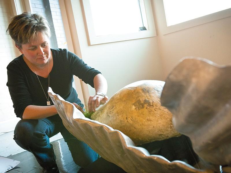 Margot Casstevens at work on Flesh, her new show. - MIKE MCCALL