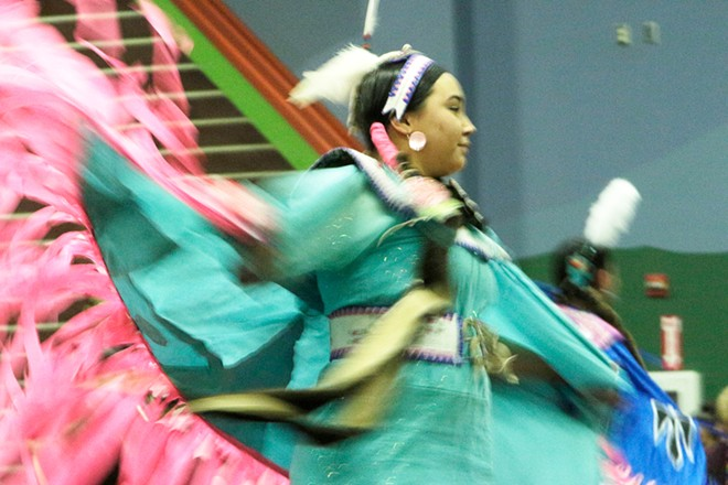 Mariah Clark, of the Coeur d'Alene Tribe, dances. - YOUNG KWAK