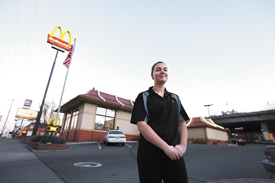 McDonald's cashier and EWU student Kierra Fitzpatrick says many of her co-workers would welcome an increase in the minimum wage. - YOUNG KWAK