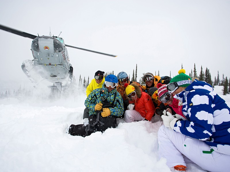 Me and the gang wait for our Selkirk Tangiers chariot to whisk us back up for another run. The heli-ride is almost as fun as the skiing - SHERRI HARKIN
