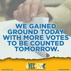 Message posted by the Yes on 522 campaign Wednesday. - YES ON 522
