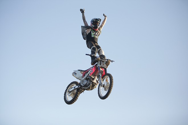 Metal Mulisha freestyle rider Drake McElroy performs. - YOUNG KWAK