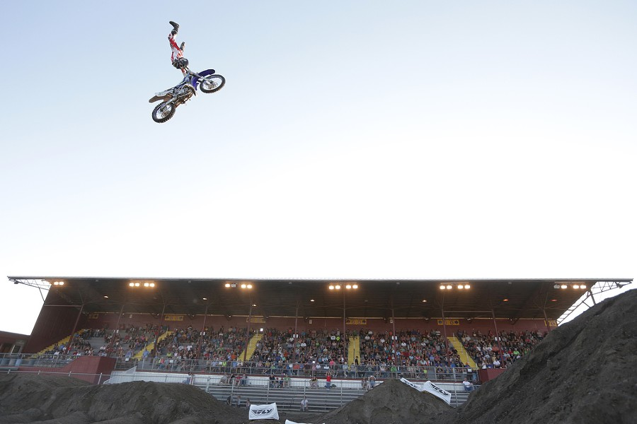 Metal Mulisha freestyle rider Jimmy Hill performs. - YOUNG KWAK