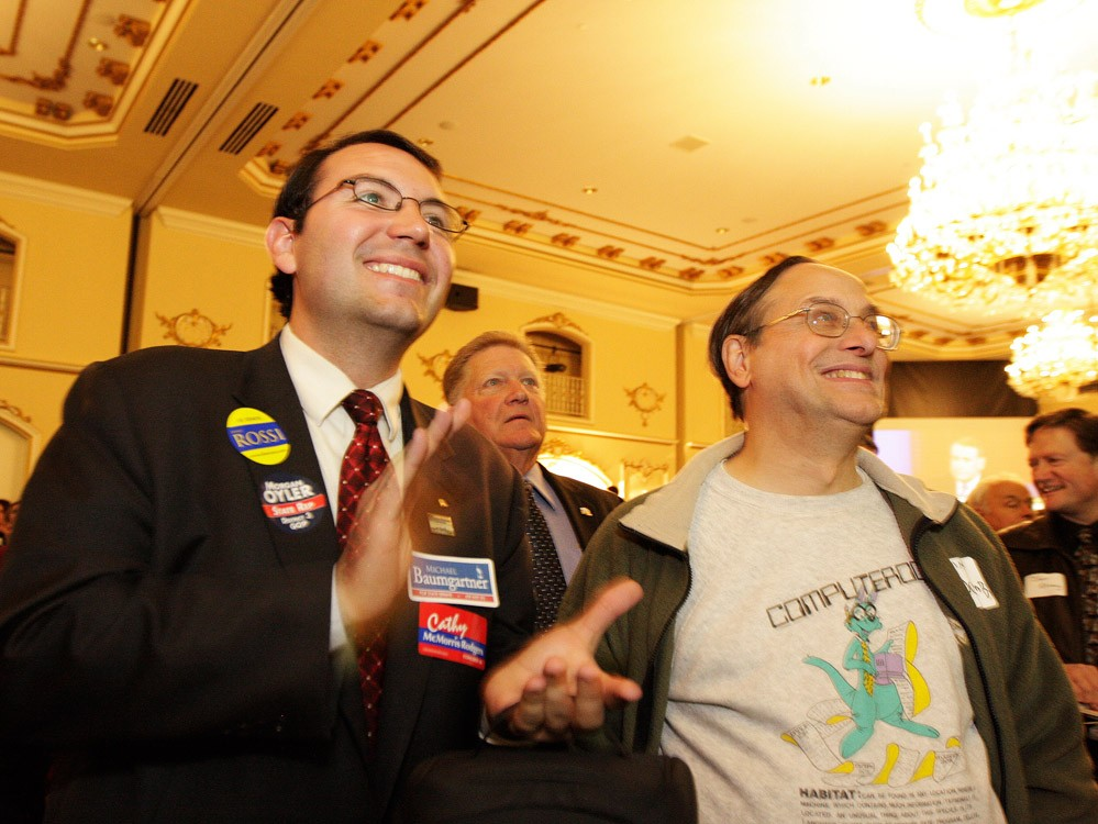 Michael Cathcart, left, cheers election results. Catchart managed successful state candidate Michael Baumgartner's camapaign. - YOUNG KWAK