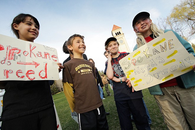 (Left to right) Ten-year-old Isabel Brunken, eight-year-old Jack Brunken, ten-year-old Molly Herzog, and 11-year-old Hanna Herzog speak with Inlander writer Daniel Walters. - YOUNG KWAK