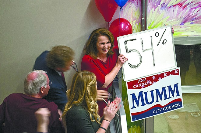 Candace Mumm, center, at her victory party in Kendall Yards. - SARAH WURTZ