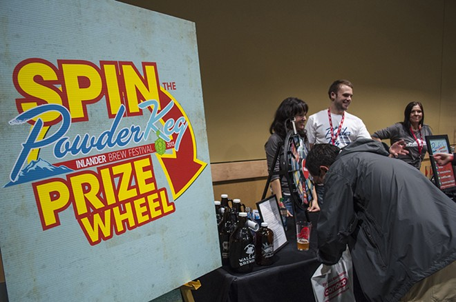 The PowderKeg prize wheel. - SARAH WURTZ