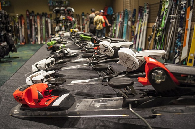 Ski bindings at the Spokane Alpine Haus booth. - SARAH WURTZ