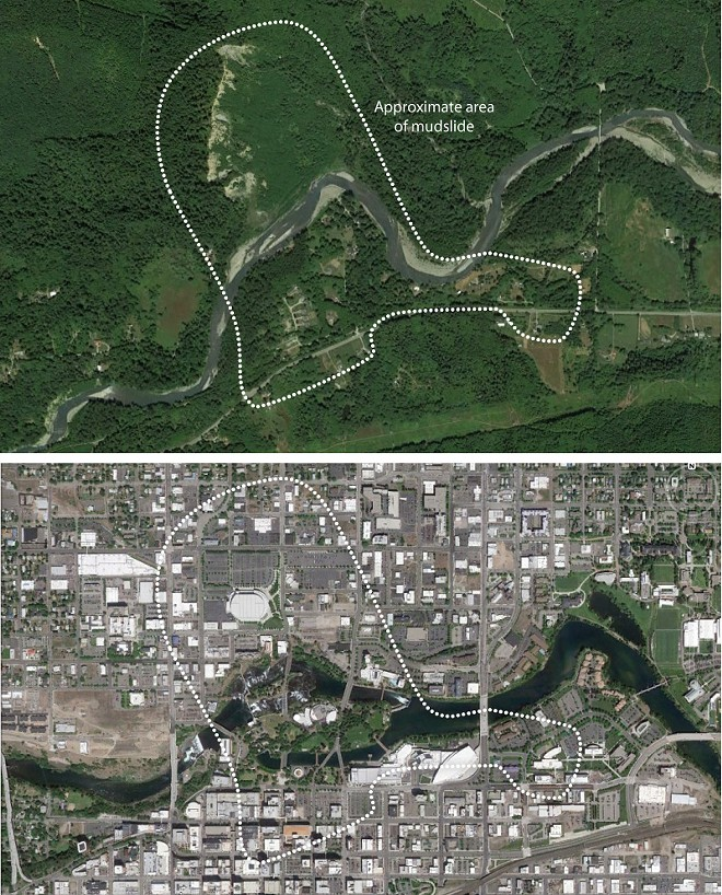 Top: The approximate area of the mudslide near Oso, Wash. Bottom: The area's size compared to downtown Spokane. - LISA WAANANEN; GOOGLE EARTH