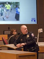 Straub turns to the audience during Thursday's update on SPD reforms. - JACOB JONES
