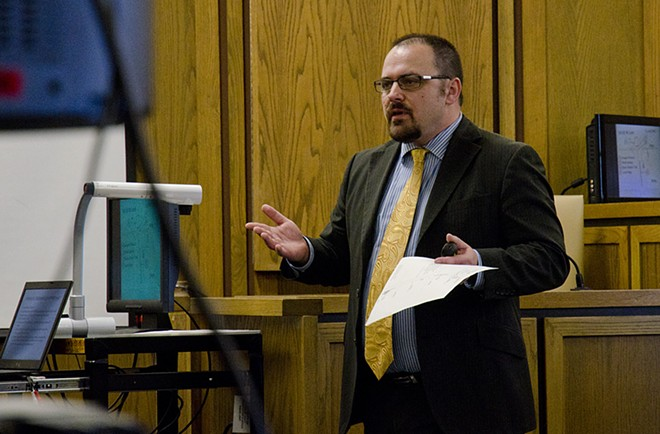 Deputy prosecutor Deric Martin presents his closing argument Wednesday in the case against Gail Gerlach. - JACOB JONES