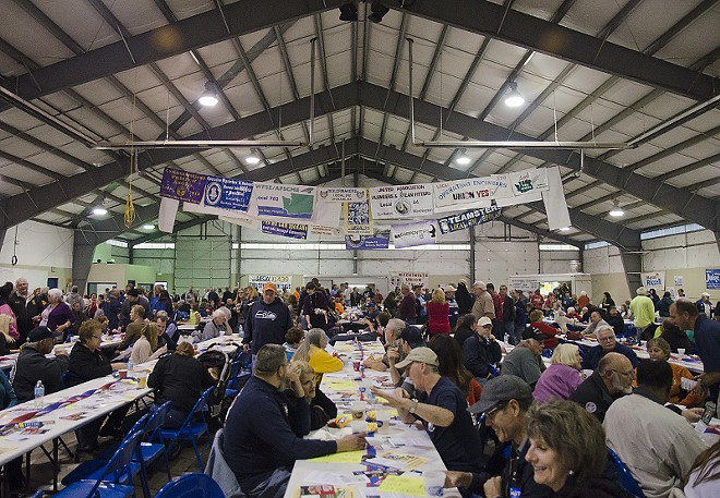Hundreds of union workers gathered at the fairgrounds Wednesday for the annual labor rally. - JACOB JONES