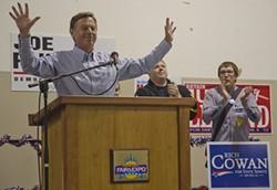 State Senate candidate Rich Cowan addresses union members at the rally. - JACOB JONES