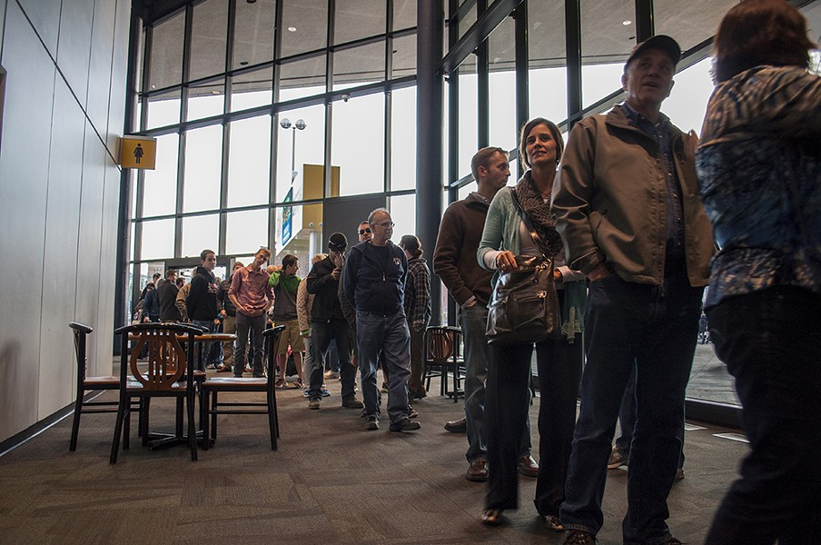 People waiting to get inside of the Snowlander Expo - SARAH WURTZ