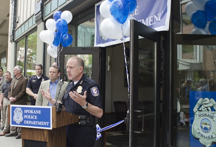 Police Chief Frank Straub opens the downtown substation along Riverside Avenue in June. - JACOB JONES