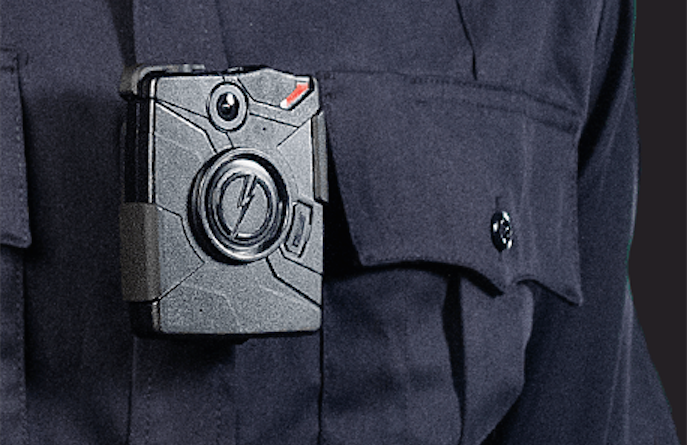 A promotional photo of the chest-mounted Taser Axon Body camera Spokane Police will start wearing in September. - TASER