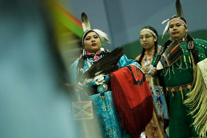Nizhoni Ellenwood, left, of the Nez Perce Tribe and Apache Tribe, and Olivia Carter of the Yakama Nation and Nez Perce Tribe, dance. - YOUNG KWAK