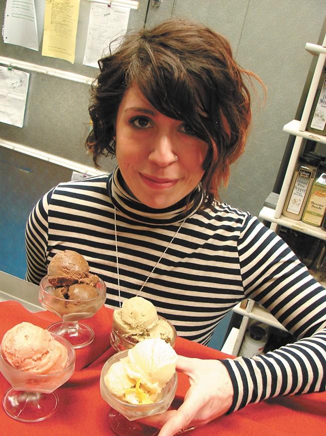 Noelle Otersen with her gelato. - CARRIE SCOZZARO