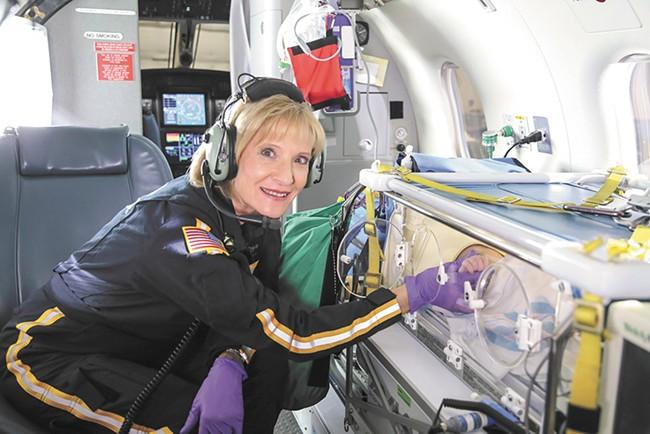 Nurse Terri Tickner aboard Northwest Medstar