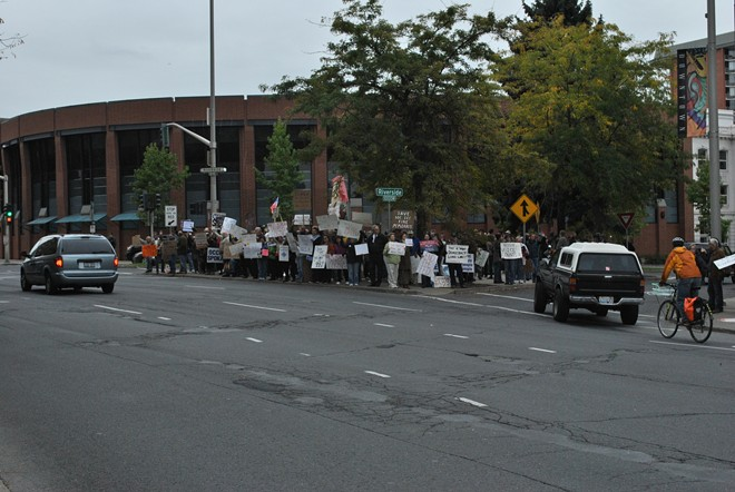 Occupy Spokane protests on a downtown median in October.