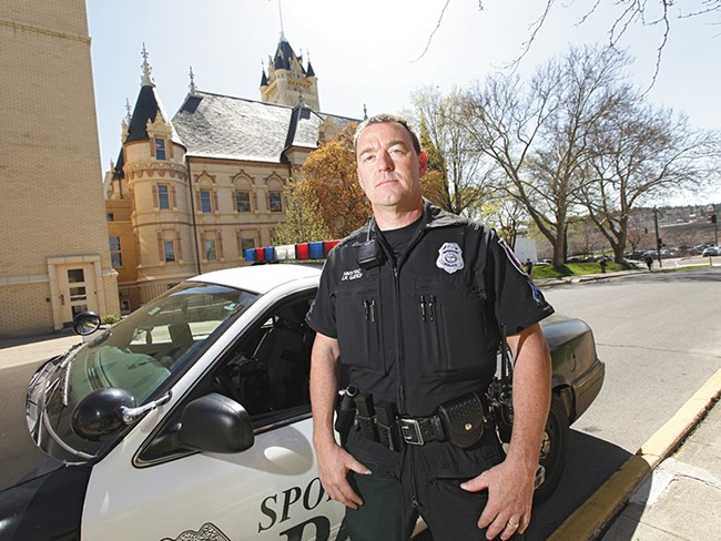 Officer John Gately, the new guild president, outside the Public Safety Building. - YOUNG KWAK