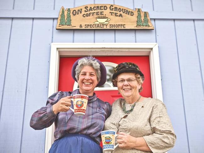 On Sacred Grounds owner Elaine Rising (left) and Kathy Barrick - JORDAN BEAUCHAMP