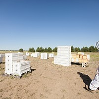 Photos: Local beekeepers and their hives Owner Mike Durst walks into a field holding hives at Mark T. Durst and Sons. Young Kwak