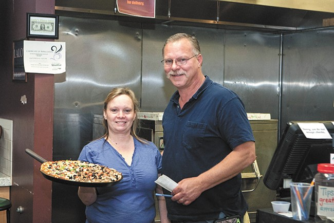 Pam and James Wedemeyer, owners of Lalo's Pizza and Calzone. - MEGHAN KIRK