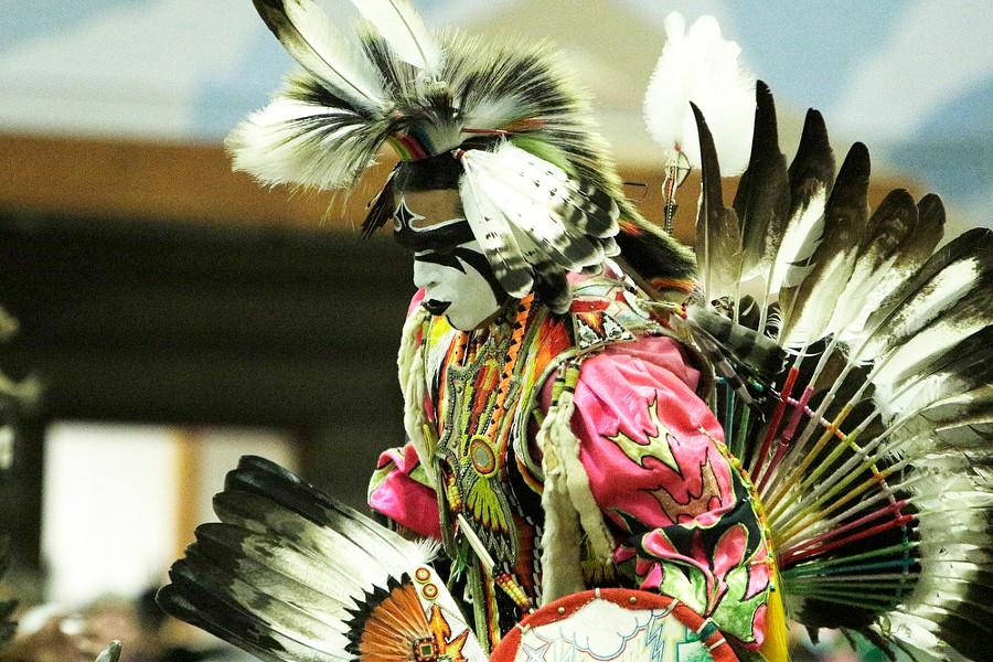 Paris Leighton Sr., of the Nez Perce Tribe, dances. - YOUNG KWAK