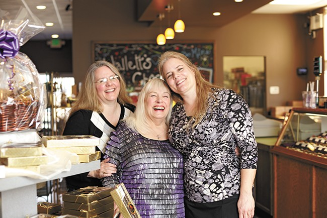 Patty Kane (center) and her fellow Halletts Chocolates co-owners and daughters Kitty (left) and Kari. - YOUNG KWAK