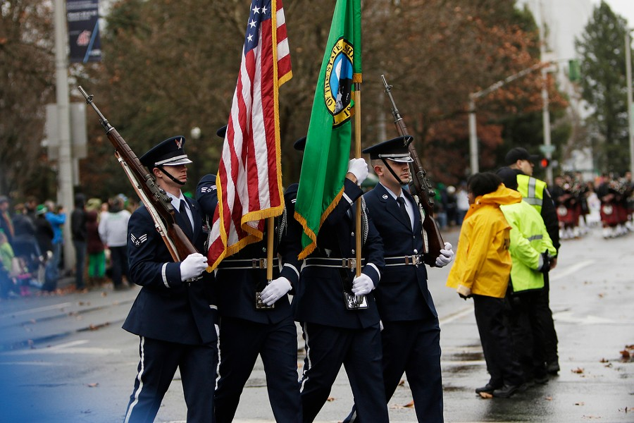An Air Force color guard marches near the start. - YOUNG KWAK