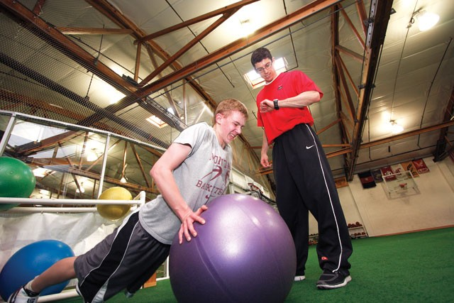 Post Falls High School basketball player Luke Thoreson during a workout with former Zag Mike Nilson. - YOUNG KWAK
